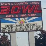 Hateful message posted by Town and Country Bowl, Keizer Oregon