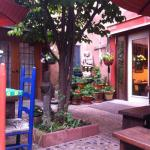 Courtyard, very charming and quiet. One room has a door onto it.
