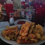 Half and half platter - shrimp and fish with fries