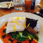 Olive oil poached halibut
