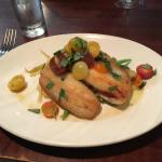Petrale Sole with fingerling potatoes and cherry tomato vinaigrette