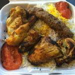 The Combo Platter (Kabob-e Kubideh and Joojeh on the bone) with Rice