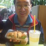 Enjoying my sandwich!