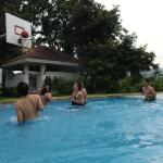 The pool with the basketball ring