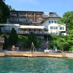 Hotel and its beach from the lake