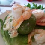 Palta rellena de camaron: whole stuffed avocado w/shrimp