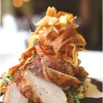 Bacon Wrapped Roasted Chicken Breast with Housemade Spaetzle, Lemon-Thyme Natural Reduction, and