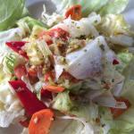 Green salad mostly iceberg lettuce.