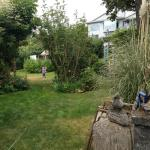 the landscaped grassy play area to relax