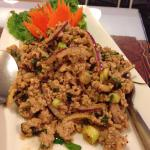 Tom Yum, lab, and spicy Papaya salad with rice.