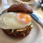 Pulled pork burger with fried egg