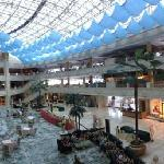 Panorama of lobby with retaurants on upper levels, shops below