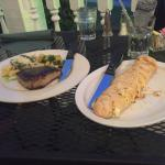 Cheese stuffed bread and the tuna with pasta dish