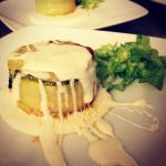 tortino di verdure con fonduta di parmigiano