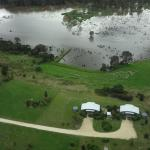Aerial view of the cottages and the wetland