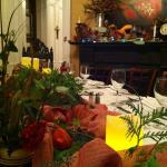 Festive decorated tables for group