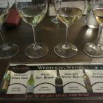 A flight of white wines