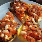 Odd buschetta with beans