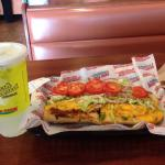 Awesome grilled veggie sub and freshly squeezed lemonade