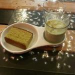 Dessert gourmand, macha cake et glace au macha