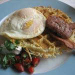 Big River Breakfast, hash brown waffle, eggs, sausage