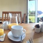 Breakfast and the view of the rabbits in the garden