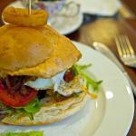 angle beef burger add egg