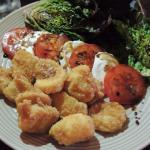 Sweet pea risotto with lobster. Scallops with caprese salad.