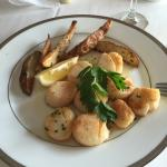 Escargot, scallops and snapper. All wonderful.