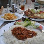 Chilli n rice and chicken with jacket n salad