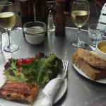 Soup, Tart and White Wine for Lunch