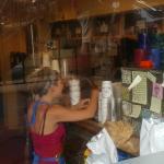 Employee making coffee