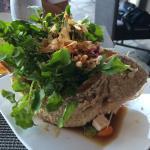 Ocean seafood salad, fried fish n lavender panna cota