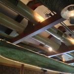 Lovely canoe's suspended from the main dining room ceiling