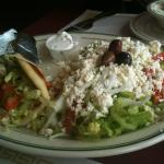 Chicken gyro with Greek salad.
