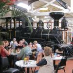 The table area for seated customers, with a logging engine as a backdrop