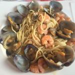 Delicious pasta with prawns and clams