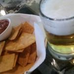 Cold beer and complimentary warm corn chips with fresh salsa