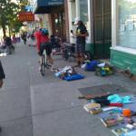 Homeless people and drug addicts selling stuff found in trash, 5 min walk from the hotel
