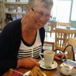 Aunty Ann being naughty with tea and walnut cake