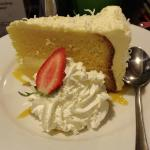 Pina Colada cake was so good. Wings & Ribs hot spicy. Salmon w/citrus salad good