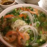 Vegetable pho with shrimp added.