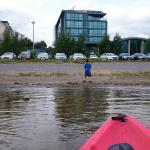 Kayaking to front of Hotel!