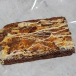 The white chocolate and crunching topped brownie from aerial view.