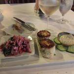 Crab cakes and a remarkable rose cole slaw-like salad.