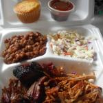 2 meat plate with pulled pork and brisket, coleslaw and beans