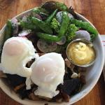 Poached egg, lots of mushrooms and fennel on a waffle