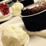 Chocolate & Peanut Butter Fondant Pudding with ice cream & strawberry salad