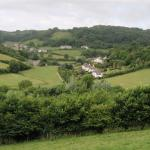 View across valley on the walk to the village pub