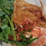 Ba Nam Sa Dac (tiger prawn, snow crab, kean pork with dry egg noodles). $11
